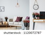 mockup of round plate on the...   Shutterstock . vector #1120072787