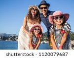 portrait of a happy family... | Shutterstock . vector #1120079687