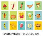 funny cards with healthy and... | Shutterstock .eps vector #1120102421