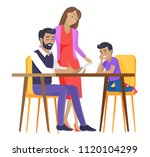 happy calm family isolated on... | Shutterstock .eps vector #1120104299