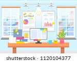 office interior with graphics... | Shutterstock .eps vector #1120104377