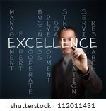 business man writing excellence ... | Shutterstock . vector #112011431