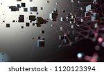 cubes connected in dark space.... | Shutterstock . vector #1120123394