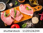 raw meat  pork steaks with... | Shutterstock . vector #1120126244
