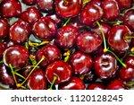 cherries summer background | Shutterstock . vector #1120128245
