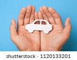 car insurance. man is holding... | Shutterstock . vector #1120133201