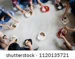 top view of teamwork and team... | Shutterstock . vector #1120135721