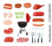 barbecue set   different meat   ... | Shutterstock . vector #1120136045