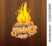 vector summer kids camp cartoon ... | Shutterstock .eps vector #1120142684