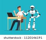 robot employee kicks away human ... | Shutterstock .eps vector #1120146191