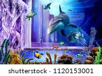 3d Oceanic Background  Dolphin...