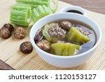 bitter gourd with mince pork... | Shutterstock . vector #1120153127