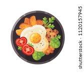 tasty breakfast flat...   Shutterstock .eps vector #1120157945
