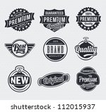 vintage retro labels and tags | Shutterstock .eps vector #112015937