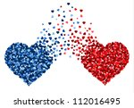two hearts made of small hearts ... | Shutterstock .eps vector #112016495