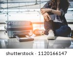 close up of young woman with... | Shutterstock . vector #1120166147