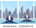 man and woman meditates sitting ... | Shutterstock .eps vector #1120169114