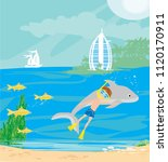 boy diving with dolphin... | Shutterstock . vector #1120170911