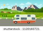 retro camper car trailers... | Shutterstock .eps vector #1120183721