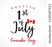 happy canada day lettering... | Shutterstock .eps vector #1120187411