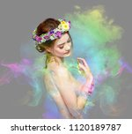 the lady of flowers is half... | Shutterstock . vector #1120189787