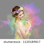the lady of flowers is half... | Shutterstock . vector #1120189817