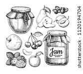 fruit jam glass jar vector... | Shutterstock .eps vector #1120194704