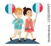 children boy and girl on...   Shutterstock .eps vector #1120199597