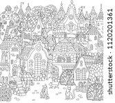 fairy tale town. city landscape.... | Shutterstock .eps vector #1120201361