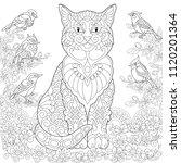 cat and birds in the garden.... | Shutterstock .eps vector #1120201364