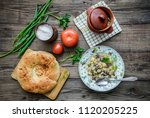simple food  pot with hot meat... | Shutterstock . vector #1120205225