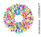colorful human hand print... | Shutterstock .eps vector #1120206377