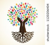 tree symbol with colorful human ... | Shutterstock .eps vector #1120206404