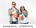young couple  woman and man in... | Shutterstock . vector #1120223741