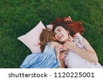 laughing woman and little cute... | Shutterstock . vector #1120225001