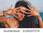 portraits of young woman with...   Shutterstock . vector #1120237274