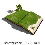 Open Book With Grass And Tree....