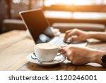 close up the hand of an asian... | Shutterstock . vector #1120246001