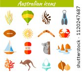 set of flat icons on the... | Shutterstock .eps vector #1120247687