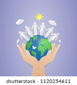 two hand holding world and... | Shutterstock .eps vector #1120254611