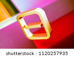 gold minus in square icon on... | Shutterstock . vector #1120257935