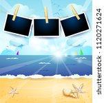 summer seascape with sunrise...   Shutterstock .eps vector #1120271624