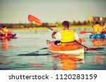 kayaking and canoeing with...   Shutterstock . vector #1120283159