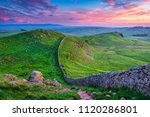 twilight at hadrian's wall caw... | Shutterstock . vector #1120286801