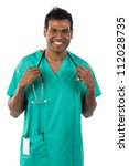 Indian doctor wearing a green scrubs. Isolated on white. - stock photo