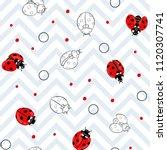 Ladybug And Dots Seamless...