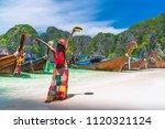 active traveler woman in summer ... | Shutterstock . vector #1120321124
