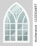classic gothic window of wood...   Shutterstock .eps vector #1120326857