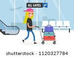 airport. young tourist rolling... | Shutterstock .eps vector #1120327784