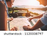 couple auto travelers plans... | Shutterstock . vector #1120338797